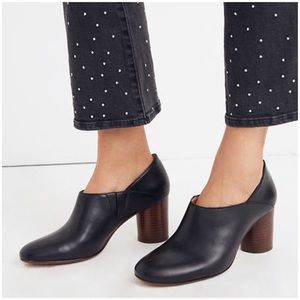 MADEWELL Rory Lowcut Leather Booties Heeled Black